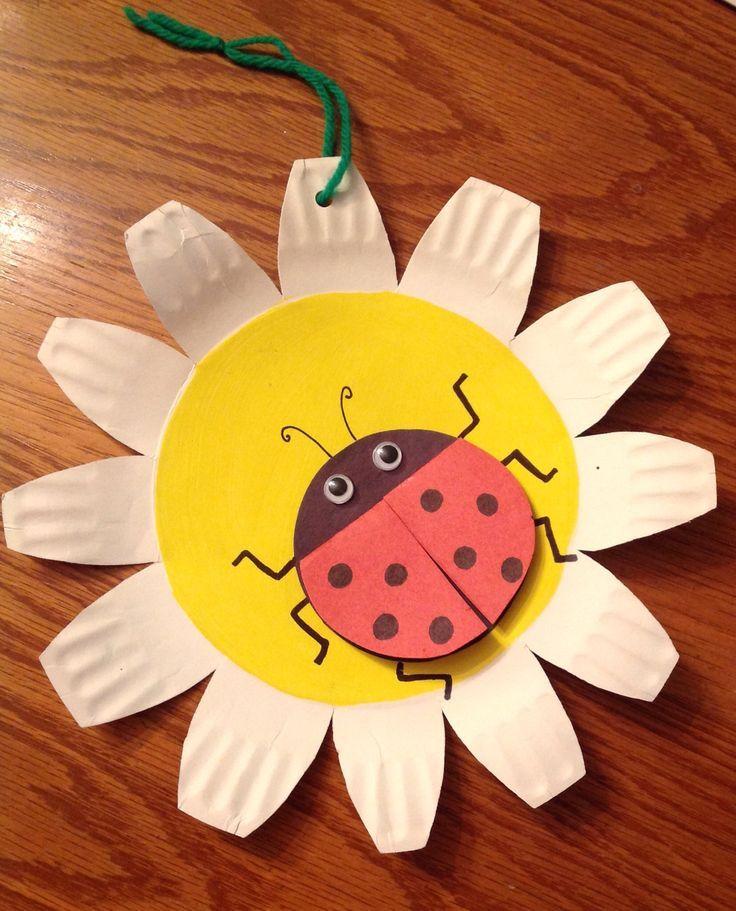 Ladybug on paper plate flower