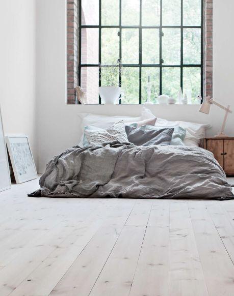 Beautiful pastel bedroom | Crittal windows | loft living | warehouse conversion | soft industrial