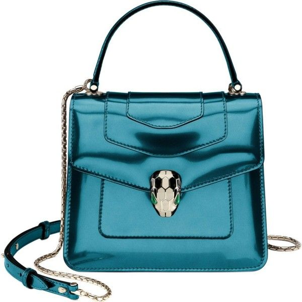 BVLGARI Serpenti Forever leather shoulder bag found on Polyvore featuring polyvore, women's fashion, bags, handbags, shoulder bags, teal…