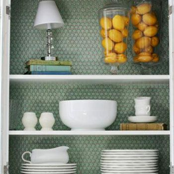 love the penny tile: Dining Rooms, Pennies Tile, Open Shelves, China Cabinets, Backsplash Ideas, Book Shelves, Lemon Yellow, Kitchens Cabinets, Cabinets Doors