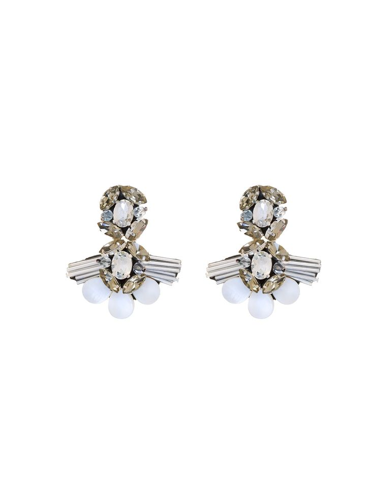 RIENNE La Femme Infant Earrings from Designrs.co These clip-on earrings resemble a blooming flower comprises amazing white crystals and glass beads.