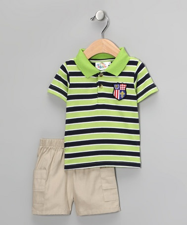 Take a look at this Green & Blue Stripe Polo & Shorts - Infant by Baby