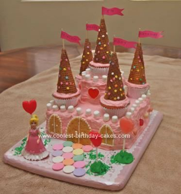 Homemade Castle Birthday Cake: My granddaughter Abby requested a princess Homemade Castle Birthday Cake for her 5th birthday.  I made two lemon cake mix cakes into two 9 inch square