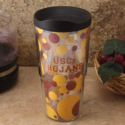 Looooove this girly USC cup!!!! Perfect for tailgating!!!! Cardinal...gold....Polk a dots....<3 Fight On USC!