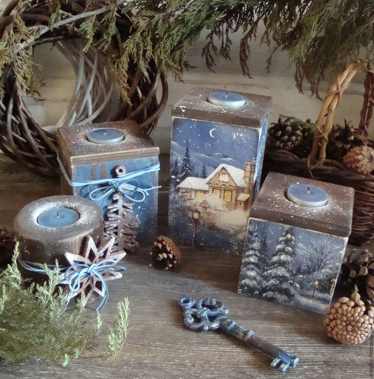 """Купить Набор подсвечников """"Зимний вечер"""" - темно-синий, Свечи, подсвечники, ретро, винтаж, зима"""