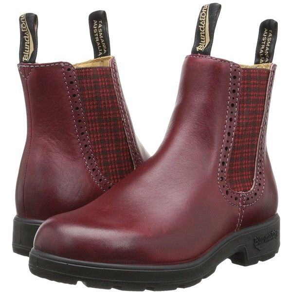 Blundstone BL1442 (Burgundy/Red Tartan Elastic) Women's Work Boots (10.765 RUB) ❤ liked on Polyvore featuring shoes, boots, platform boots, blundstone boots, slip on work boots, red work boots and leather work boots
