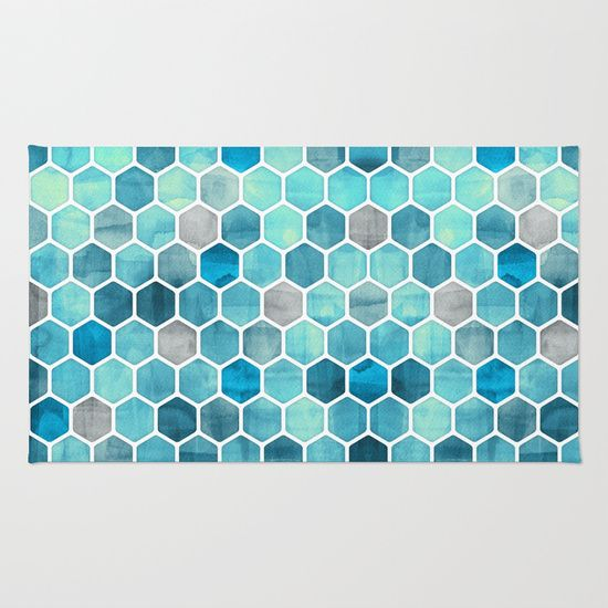 Blue Ink Watercolor Hexagon Pattern Area Throw Rug