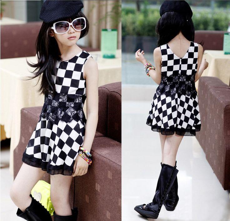 <b>2015</b> girls summer dress black and white plaid one piece <b>New</b> ...