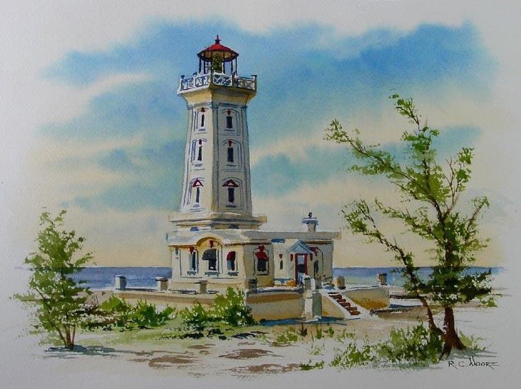 Lake erie, Lighthouses and Watercolor painting on Pinterest