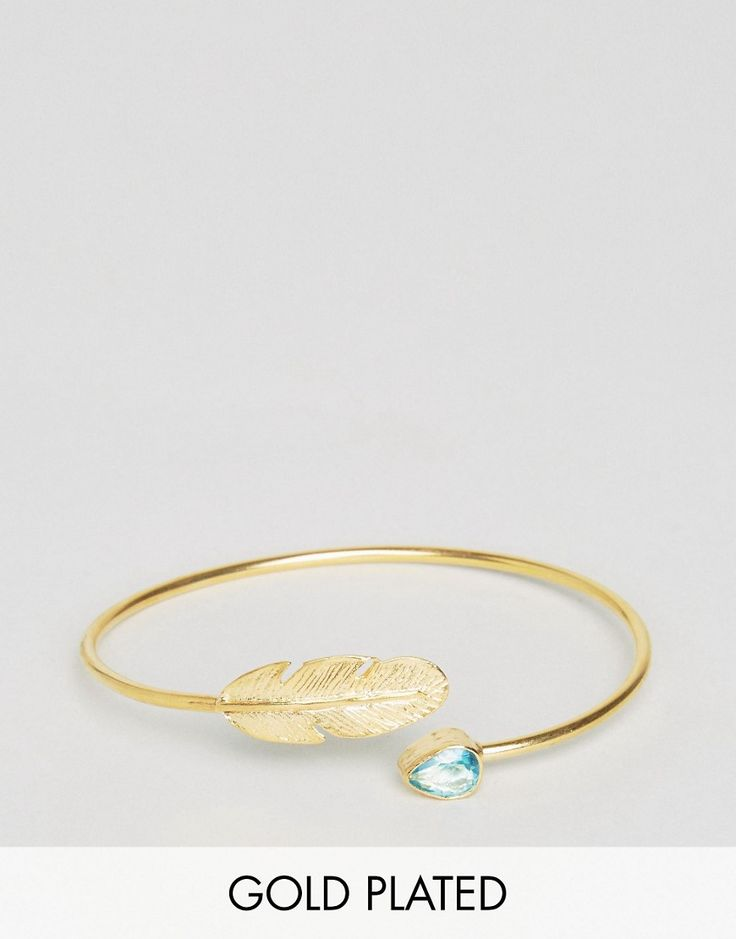 Get this Ottoman Hands's bracelet now! Click for more details. Worldwide shipping. Ottoman Hands Feather & Crystal Cuff - Gold: Bracelet by Ottoman Hands, Gold plated, Slim design, Feather detail, Shaped semi-precious crystal embellishment, Open cuff design, 55% Brass, 35% Semi Precious Stone, 10% Gold Plated. Ottoman Hands is a unique collection of handcrafted jewellery inspired by designer Deniz Gurdal's travels to Turkey. Working closely with local gem cutters and artisans, Ottoman Hands…