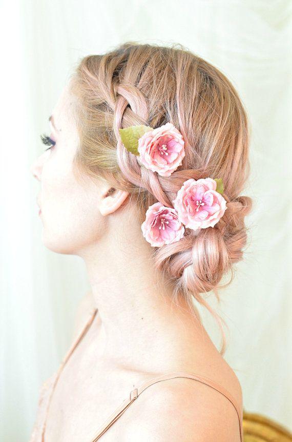 Rose hair pins, pink flower clips, whimsical floral clip, wedding hair piece, bridal hair accessories