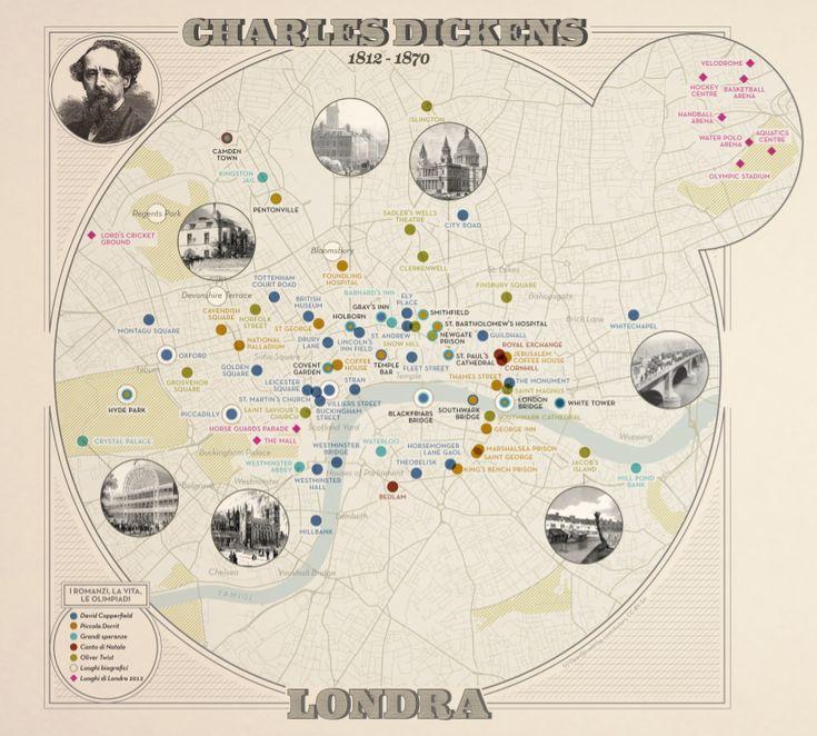 #infographic Visualizzazione riguardante le parole e i luoghi di Charles Dickens su 'La Lettura' #10 - Corriere della Sera