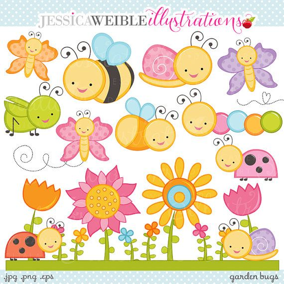 Garden Bugs Cute Digital Clipart - Commercial Use OK - Cute Bugs Clipart, Cute Bugs Graphics, Ladybug, Grasshopper, Butterfly, Snail