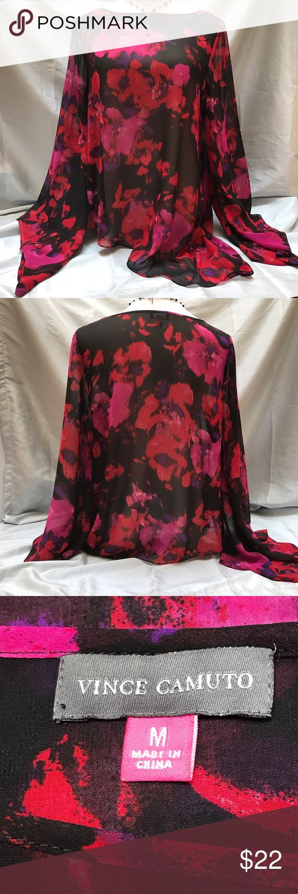 "VINCE CAMUTO Bold Batwing Flowy Chiffon Floral Top Make a statement in this beautiful, bold, batwing silhouette blouse in black chiffon with red/pink floral print. Excellent pre-loved collection. Length: 24"". Vince Camuto Tops"