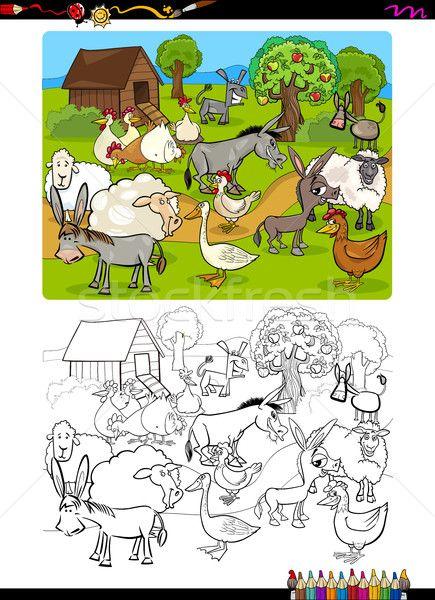 Stock fotó: Farm · állatok · kifestőkönyv · rajz · illusztráció · vicces · haszonállat
