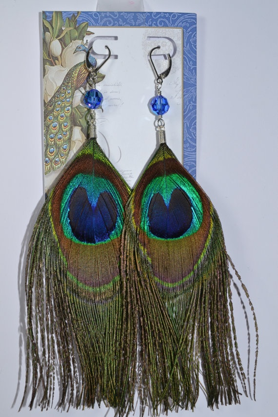 Peacock Feather EarringsSaphire Blue by RomanceinSilverAH on Etsy, $25.95