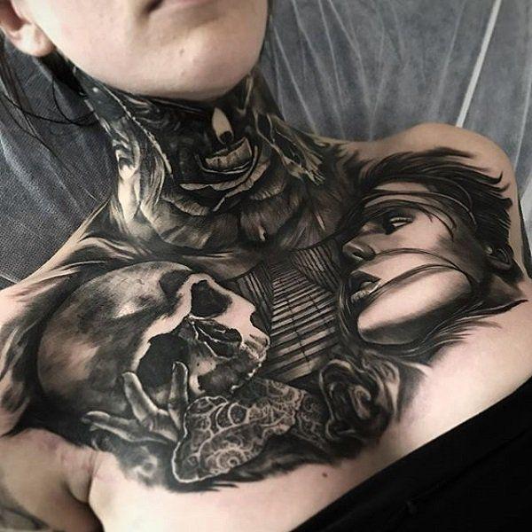 3d Chest Tattoo For Women 65 Nice Chest Tattoo Ideas 3 3 Tattoosforwomenchest Tato Dada Wanita Tato Leher Wanita Wanita Bertato