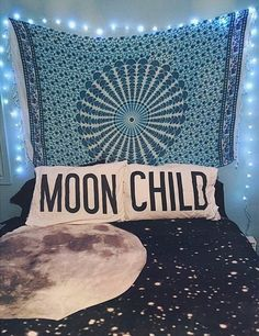 """""""Moon Child"""" bedroom with tapestry, fairy lights, + matching pillows / bedspread"""