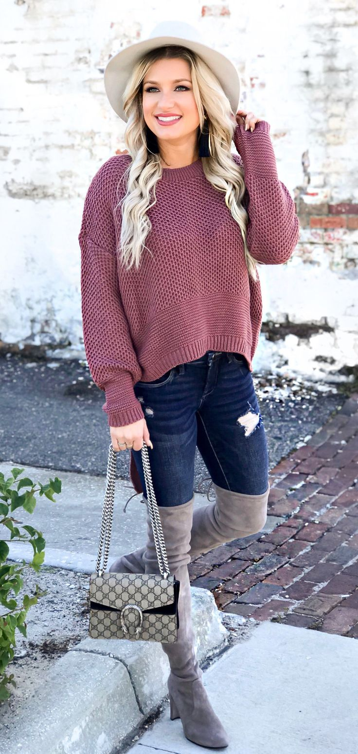 #fall #outfits women's pink sweater and grey thigh-high boots. Click To Shop This Look.
