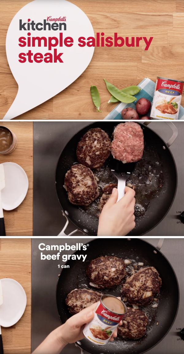 Ground beef combines with a few on-hand ingredients resulting in a scrumptious meal idea that's on the dinner table in just 35 minutes. This Simple Salisbury Steak recipe is definitely a keeper!