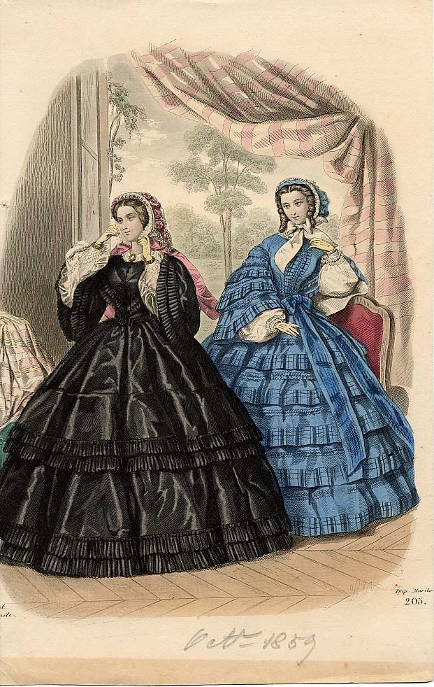 All the Flounces! 1850s Skirt Styles. 1859 October, Godey's Lady's Book