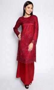 Lace Maching Baju Kurung in Maroon