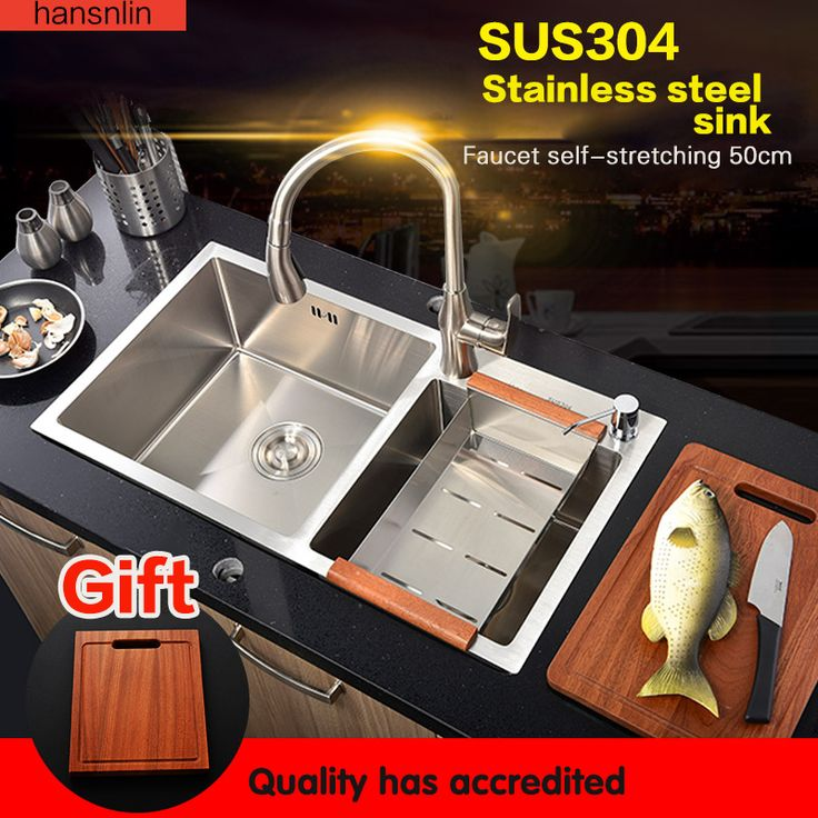 double bowl stainless steel kitchen sink with faucet tap evier fregadero de la cocina disipador lavello della cucina spoelbak ke #Affiliate