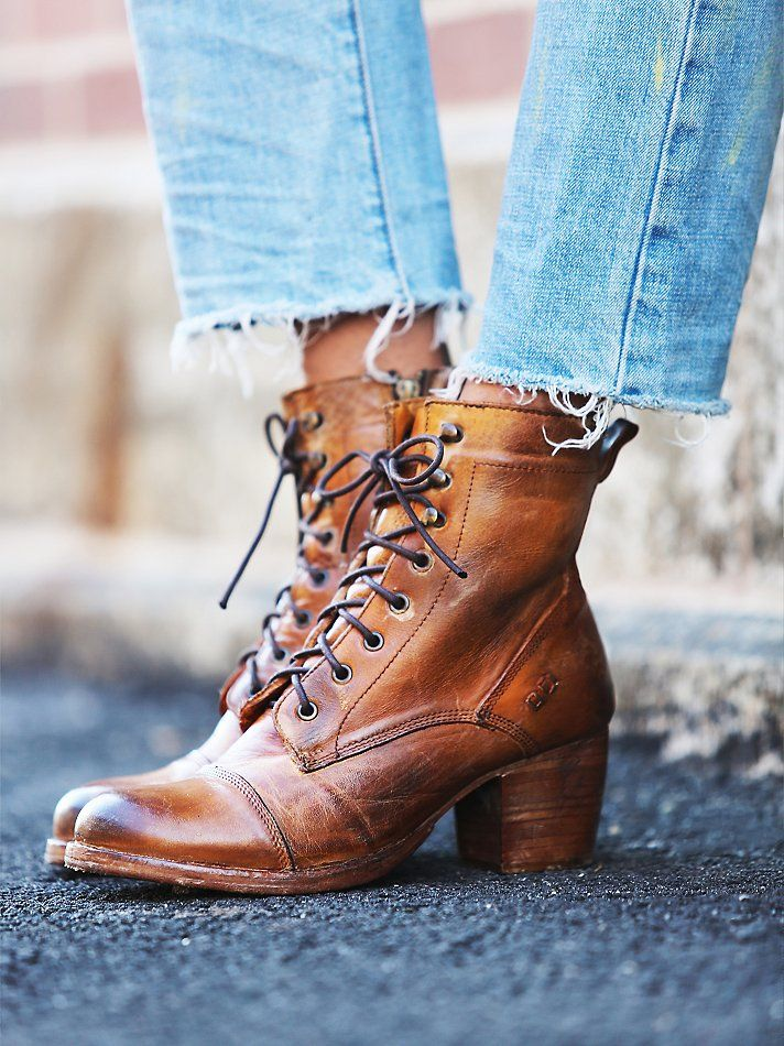 Distressed leather block heel lace-up ankle boots, featuring hand cobbling and a worn-in finish.   *By Bed Stu   *Leather  *Import Free People Miner Lace Boot, Ft 61574.92
