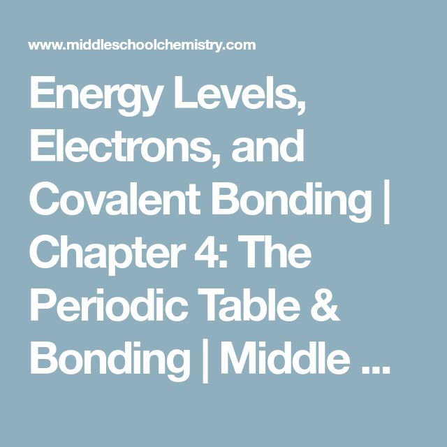 Energy Levels, Electrons, and Covalent Bonding | Chapter 4: The Periodic Table & Bonding | Middle School Chemistry