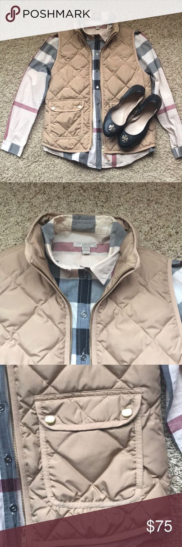 J.Crew Tan/Khaki Quilted Excursion Vest Item has been worn, but is still in great preowned condition. Some light wearing on gold hardware button snaps.   Looks great paired with neutrals! J. Crew Jackets & Coats Vests