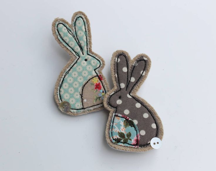 Fabric Rabbit Brooch - This is felt and fabric, but I like the design and could cut it out of papers for cards...