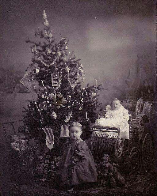 Children at Christmas  vintage