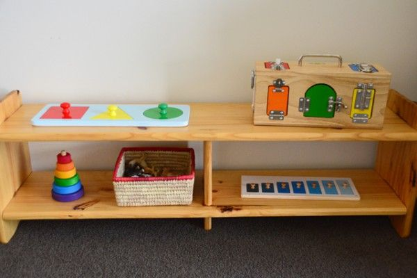 Storing Toys The Montessori Way Low Shelf With Toddler Materials Great Blog Post About Storage Solutions A Child S Room Pinterest