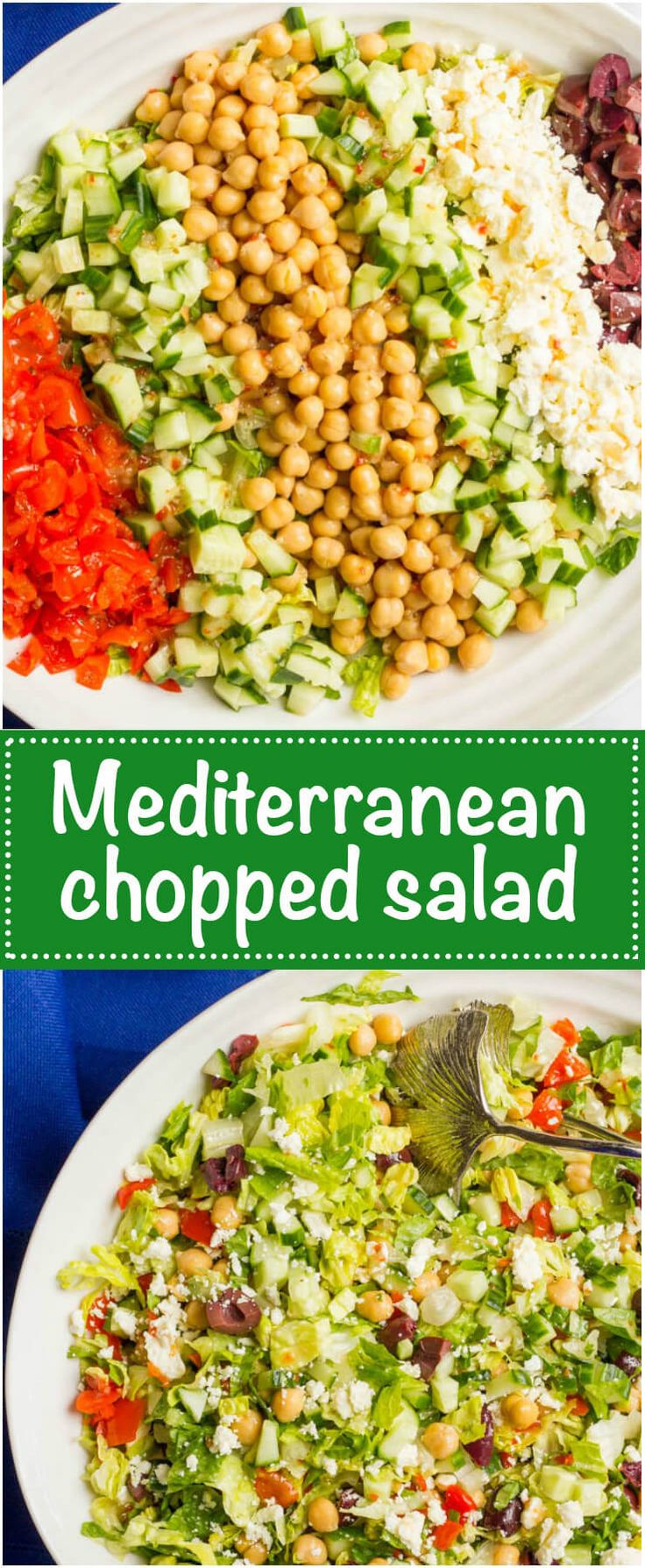 Mediterranean Chopped Salad is a crunchy, flavorful salad with chick peas, olives and feta cheese - perfect for a vegetarian and gluten-free lunch or light dinner! | www.familyfoodonthetable.com