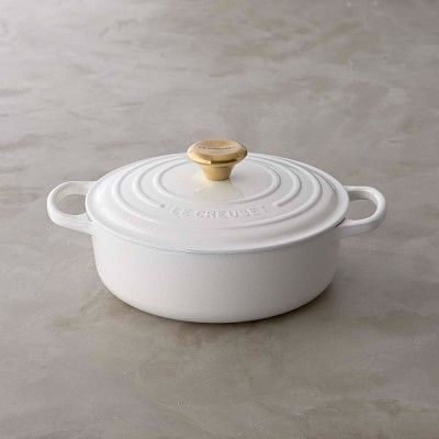 Le Creuset Signature Round Wide Dutch Oven with Gold Knob #williamssonoma