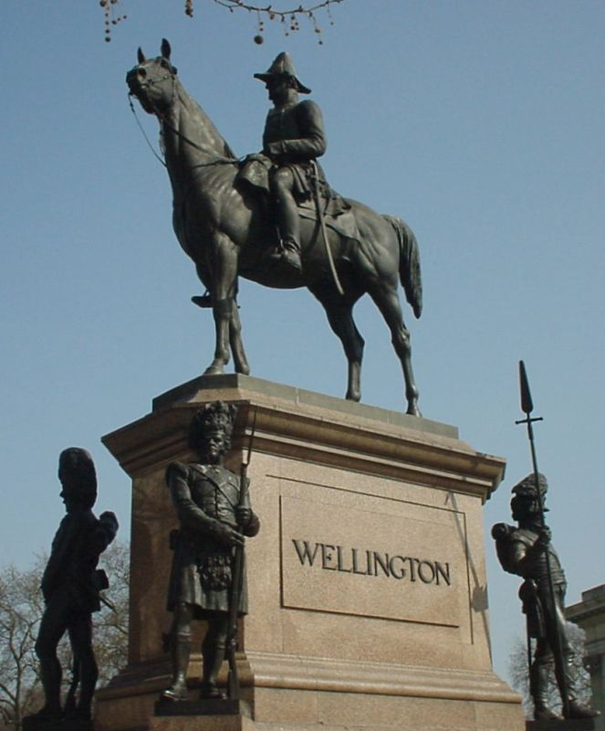 Wellington Statue Hyde Park Corner London with the 23rd Foot Waterloo Sergeant bottom right.