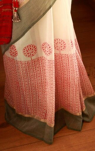Red print on white Kanchi Cotton saree