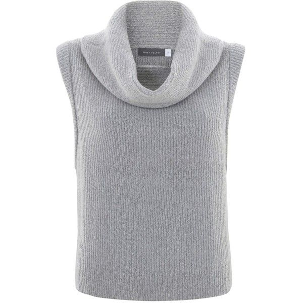 Mint Velvet Cropped Tabard , Silver Grey (€26) ❤ liked on Polyvore featuring tops, sweaters, shirts, crop tops, silver grey, silver sweater, crop top, sleeveless sweater, ribbed crop top and cropped sweater