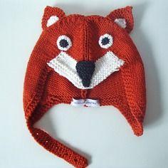 Cappellino volpe da bambino/a in lana merino taglia 2-5 anni