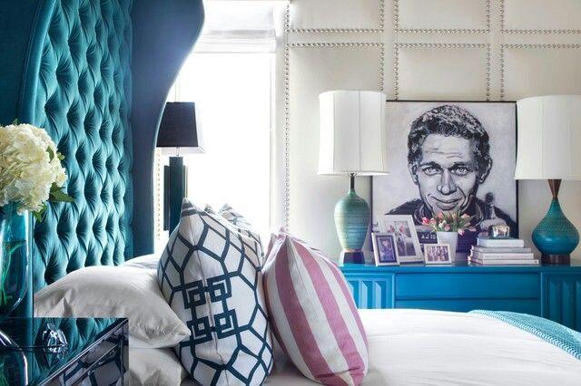 Beautiful Unique Bedroom Especially The Velvet Headboard