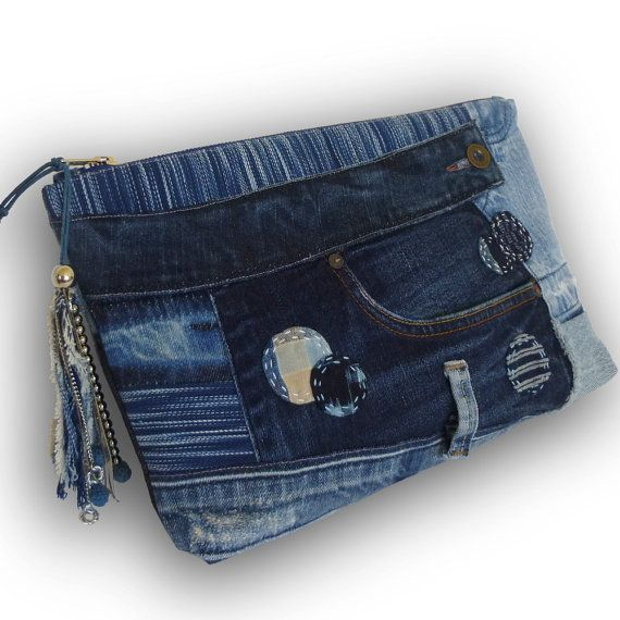 Recycled Old Jeans & Hand-dyed Indigo Fabric Clutch Bag