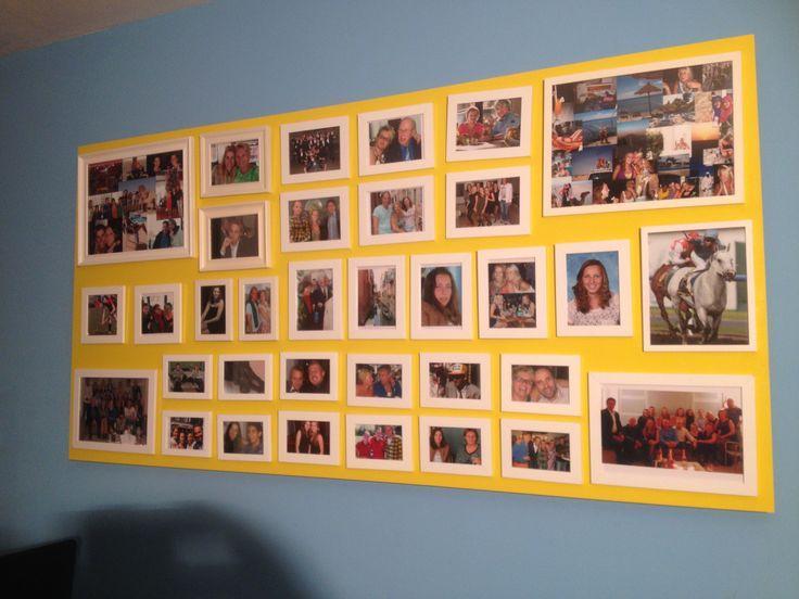 zelf fotowand gemaakt. Balkjes op de muur. Daar plaat opgeschroefd, zodat hij wat lijkt te zweven. Geel geverfd. Van te voren de foto's uitgetekend met potlood en de gaatjes vast gemaakt.