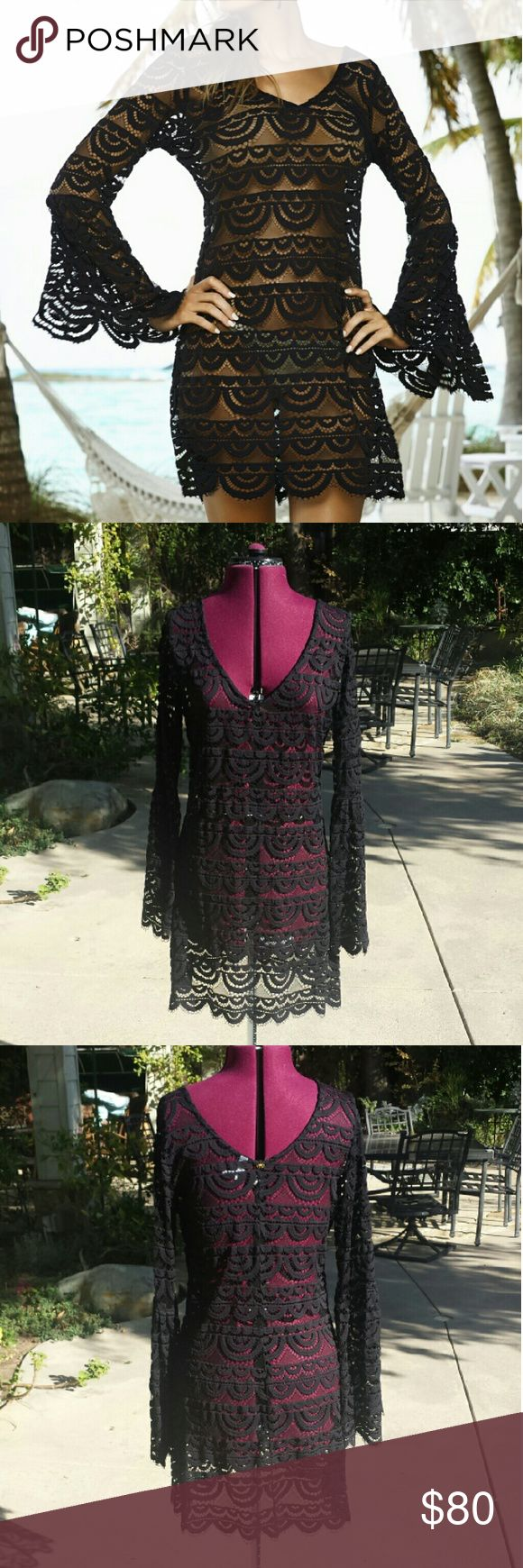 PILYQ Lace Dress Black lace with scallop hem and bell sleeve. This is sheer, can be worn over a swimsuit or a slip. Size M/L. Great condition, never worn, just tried on. Pilyq Dresses Long Sleeve