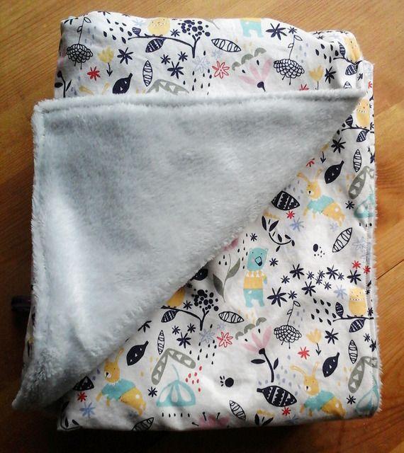 couverture b b toute douce en coton motif animaux et tissu teddy animaux et b b. Black Bedroom Furniture Sets. Home Design Ideas