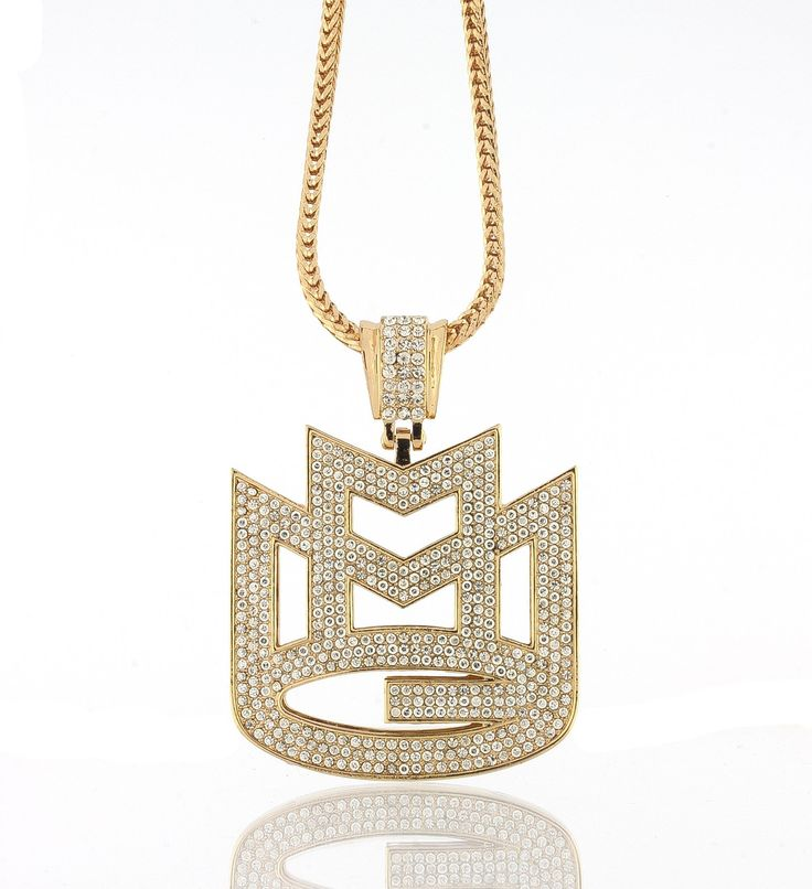 "Iced Out Gold Rick Ross Maybach Music MMG Pendant w/ 30"" & 36"" Franco Chain - 36 Inches. Iced out hip hop pendant full of cz diamonds and 30"" or 36"" franco necklace. Check out HIP HOP JEWELS store for other colors. Pendant made of solid metal and with fancy back cover as seen on celebs. FAST SHIPPING: Ships within 24 hours or same day if purchased before 3 pm."