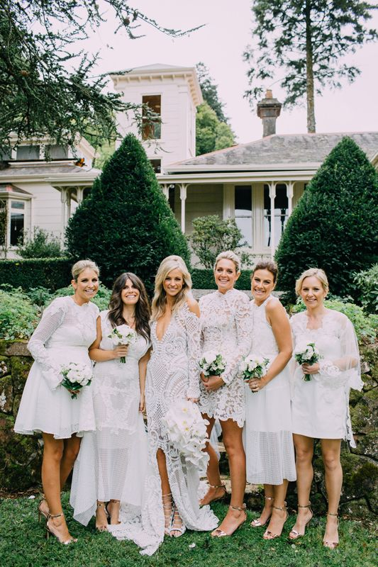 Helen + Trent | Thurley Garden Wedding | White bridesmaids dresses | HOORAY! Mag                                                                                                                                                                                 More