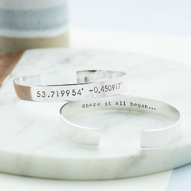 Personalised Mens Coordinate Cuff  Made from quality 925 Sterling Silver