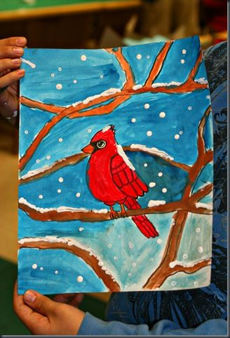 Paint beautiful cardinals for winter