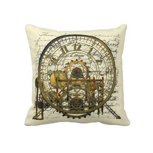 Steampunk Time Machine Throw Pillow For The Home Living Room Lounge Decor Interior Design Gears And Cogs With A Mechanical Engineering Or