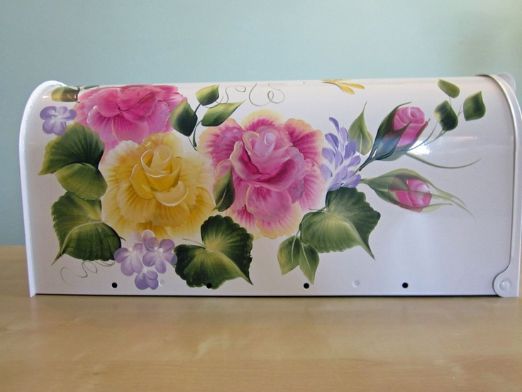 hand painted mailboxes | Hand painted Personalized Mailbox Pink Rose on by TreasureLaine